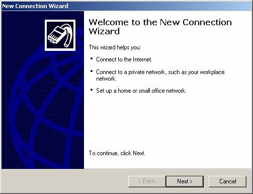 Click Create a new connection in the Network Tasks task pad