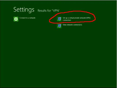 Windows 8 VPN search results